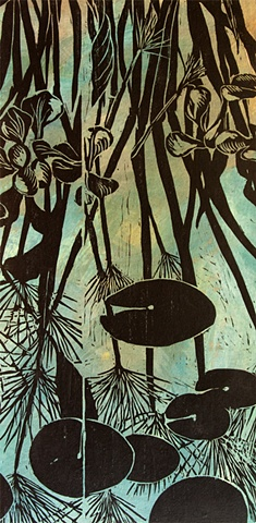 papyrus, plants, water garden, woodcut, mounted on panel, color woodcut
