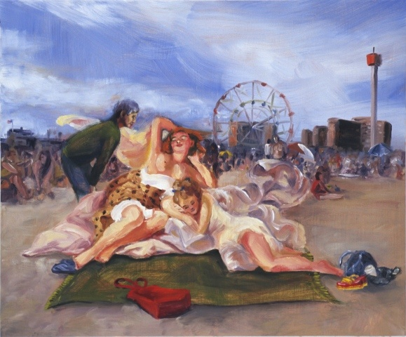 The Invisible Woman Looking at Diana on the Beach at Coney Island (after Fragonard)
