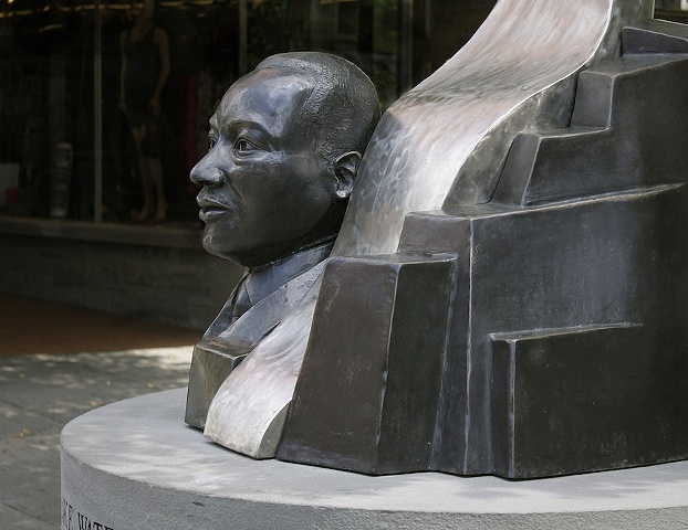 Detail of MLK Sculpture on the Ithaca Commons