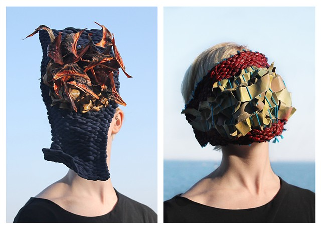 fiber art, masks, contemporary art, Meaning Structures is an installation comprised of photo, wearable sculpture and sound created by Janina Anderson during a two month residency with Linea de Costa in Cádiz, Spain.