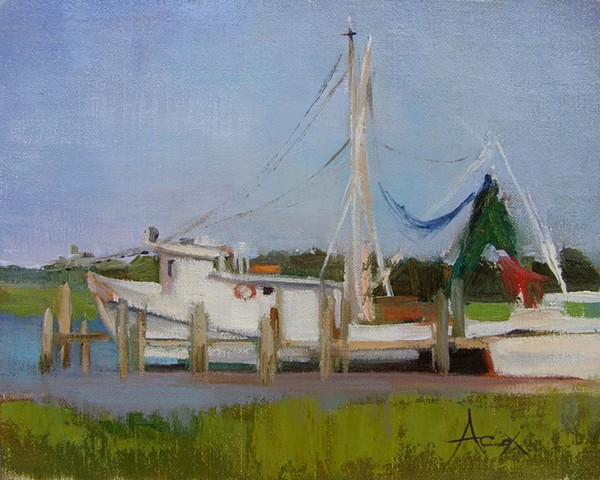 A plein air painting of a fishing vessel docked at Crosby's.