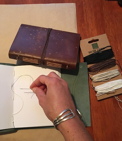 Stitching a leather journal