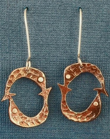 Re-purposed Cupro Nickel Pisces Earring