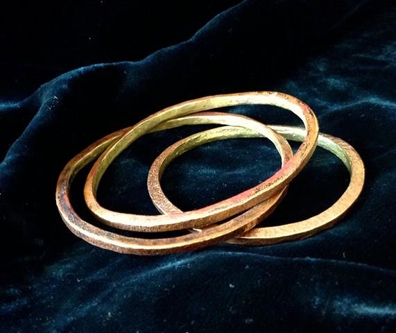Rustic Bronze and Copper Bangle