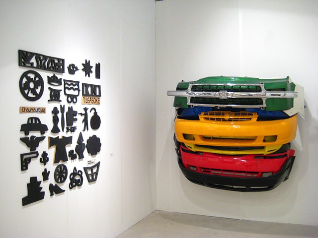 Bumper sculpture and wood cutout group,  Installation view, Art Miami 2013, Ethan Cohen Fine Arts, NY