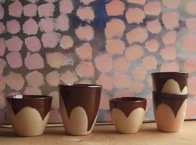 Spring! Small flower beakers and blossom painting