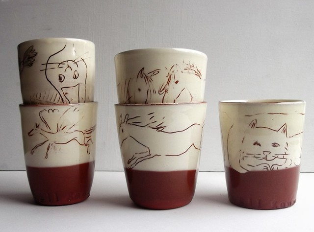 Beakers with drawings