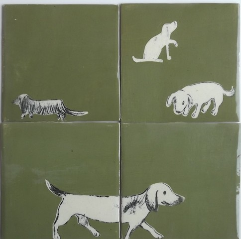 dog tiles 14x14 cm each