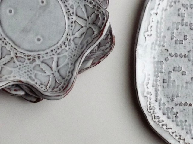 tin glazed lace plates