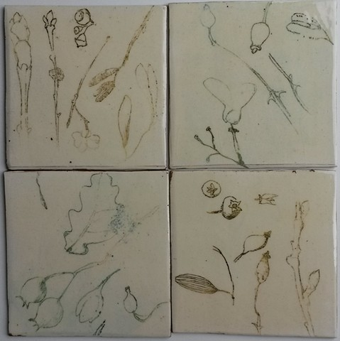 Tiles with nature drawings