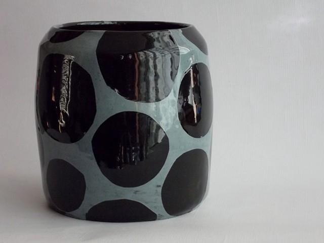 Blue dot wide vase