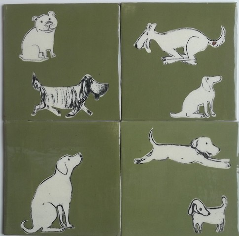 more dogs on tiles