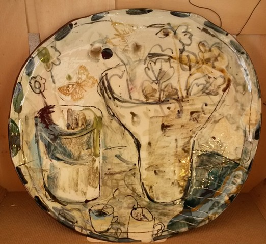 studio platter with vase