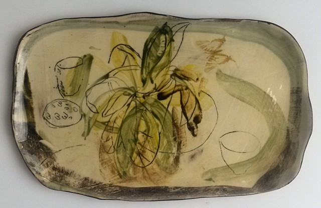 studio platter with plants
