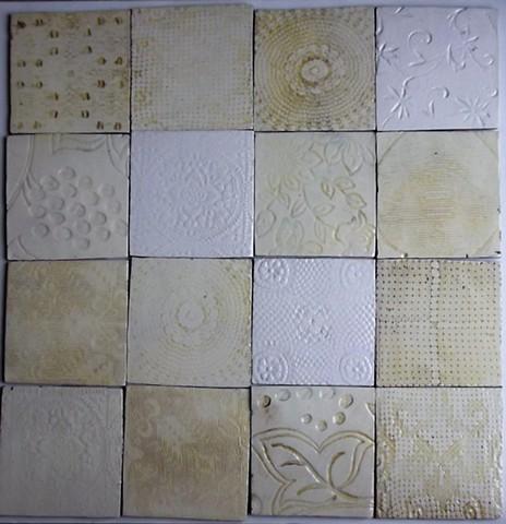 711. white lace tiles  10x10 cm each