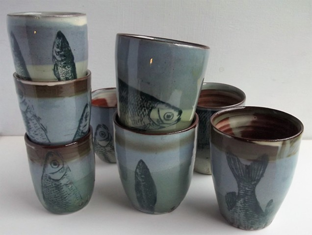 beakers with fish