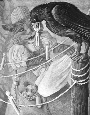 illustration of cat from a nursery rhyme by tanya shpakow from the applewood studio