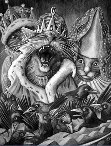 CATS SING A SONG OF SIX PENCE  ILLUSTRATION tanya shpakow THE APPLEWOOD STUDIO