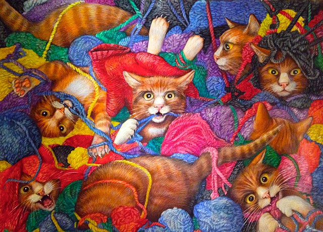 Nine kittens in yarn    counting book SCBWI