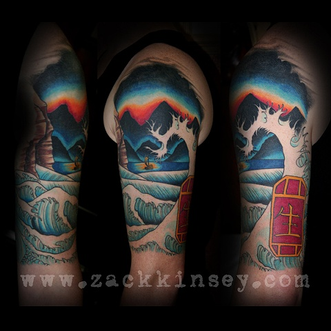 Dave's wave, sunset and sailboat 1/2 sleeve