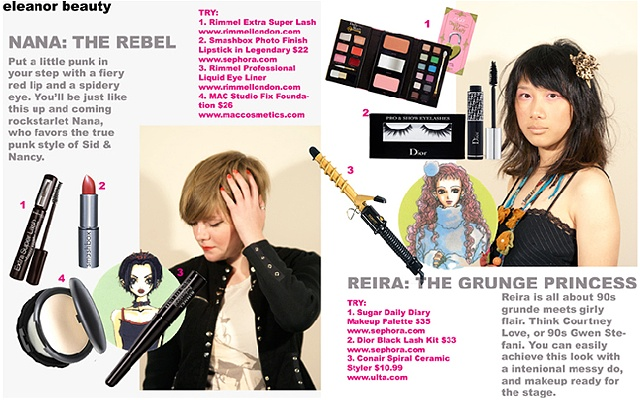 Beauty section of Fall 2008 issue of Eleanor Magazine