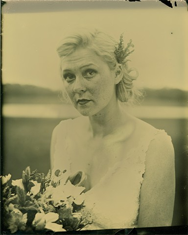 A dryplate tintype of a bride by Stephen Takacs Photography