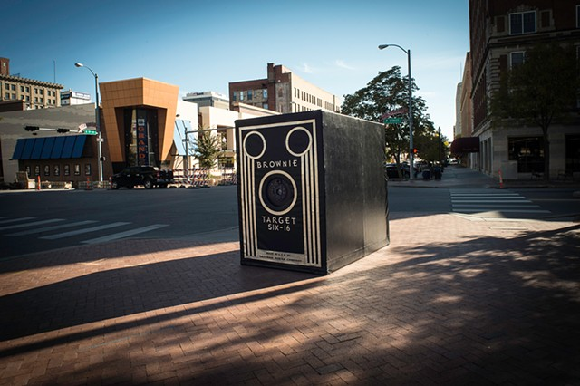 The camera obscura, Brownie In Motion, set up in the streets of Lincoln, NE. Photographed by Columbus, Ohio based STEAM Factory member, Stephen Takacs