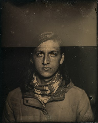 A dryplate tintype photography of artist Evan Dawson by Columbus, Ohio based photographer Stephen Takacs.