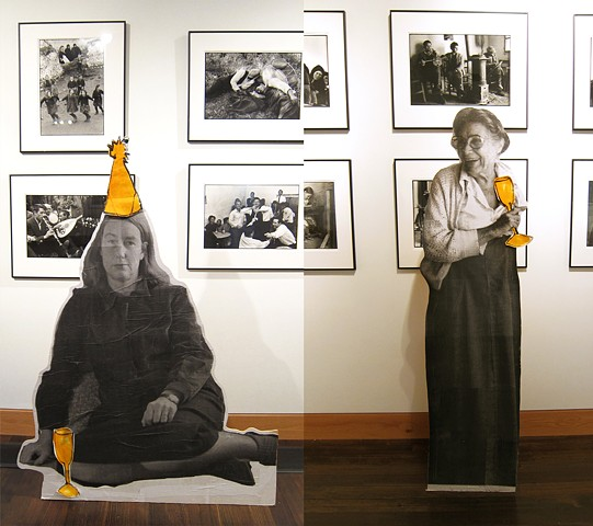 Wooden cutouts of famous Provincetown artists Mary Hackett and Ferol Warthen
