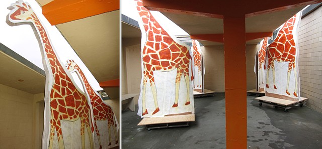 Installation for 10 Days That Shook the World: the Centennial Decade, a multi-media exhibition by Zehra Khan & Tim Winn at the Herring Cove Beach Bathhouse in the Cape Cod National Seashore, Provincetown, MA.  Anatomy and architecture, giraffes, movable,