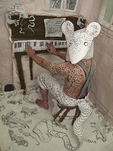 Mixed media installation and performance, in collaboration with Tim Winn. limited edition print, #Zehra Khan #Tim Winn #installation #performance #costume #photograph #animal #beast #bodypainting #art #piano #playing #rat #mask #painting #drawing #film #m