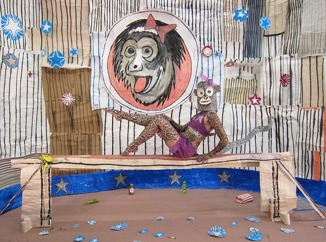 Johnny Flea and His Merry Maniacs Present the Circus, mixed-media installation, Installation and props: ink and acrylic on paper, cardboard and wood. Costumes: Acrylic on bedsheets, paper, and tyvek and skin, Zehra Khan & Tim Winn, 10 x 16 x 8', Vermont S