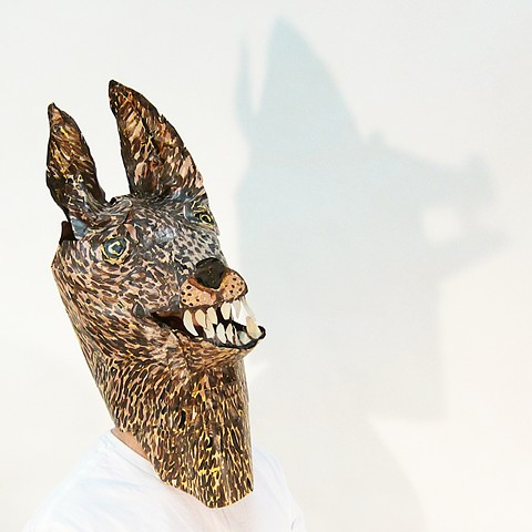 Werewolf: a paper mask and sculpture made by Provincetown artist Zehra Khan. The mask is an artifact from a performance on film.