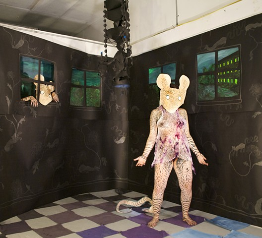 Mixed media installation and performance, created while at art residency at the Vermont Studio Center, August 2010.  Checkered floor, painting, drawing, installation, mixed media, performer, chandelier, black, windows, peeping, peeping tom, negligee, Rebe