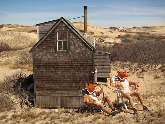 From The Weasel Problem, a collaborative work by Zehra Khan & Tim Winn.  limited edition print, Weasels, dune shack, Provincetown, Cape Cod National Seashore, artists-in-residence, collaboration, performers.