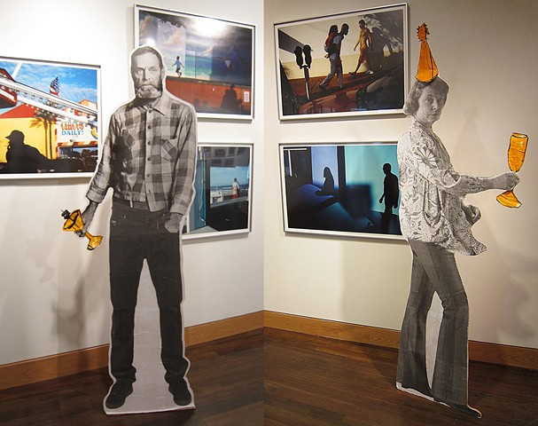 Wooden cutouts of famous Provincetown artists Edwin Dickinson and Ada Hensche