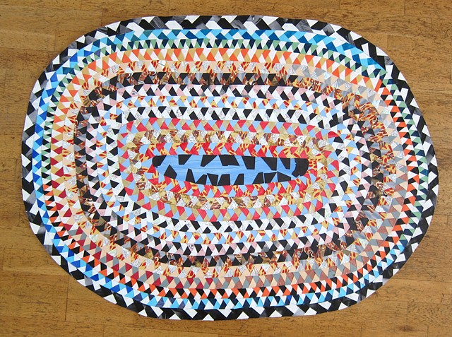"Dirty Rotten Teeth, by Zehra Khan, is collaged paper to form a braided circle rug, 34 x 48"", 2015.  Fake braided circle rug made out of old paintings, drawings, photocopies, elementary school notebooks, maps, and exhibition postcards."