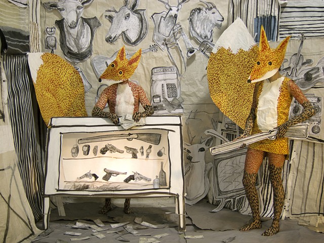 The Pawn Shop - Fox Proprietors, mixed media installation and performance, Zehra Khan & Tim Winn. #Zehra Khan #Tim Winn #installation #performance #costume #photograph #animal #beast #bodypainting #art #piano #playing #rat #mask #painting #drawing #film #