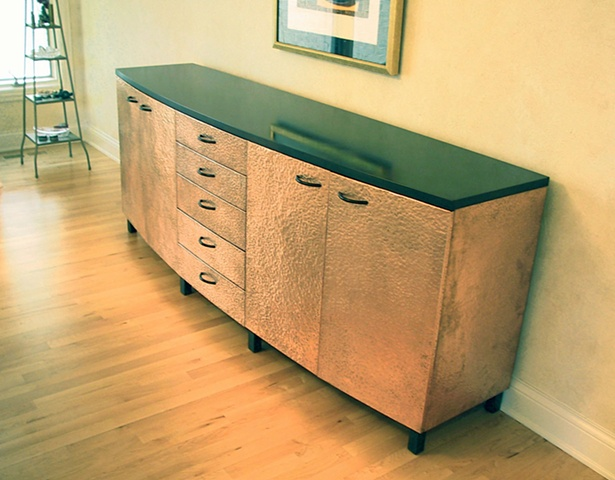 Credenza, hammered copper and blackened steel