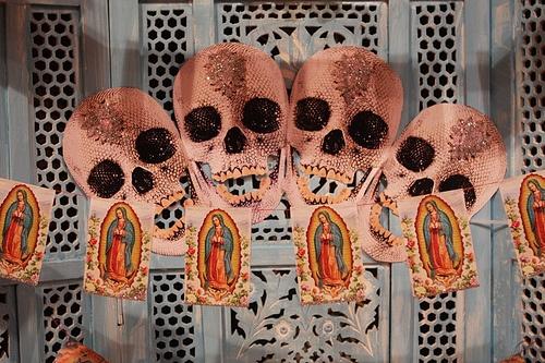 """For the Love of God"" as dia de lost Muertos altar decor."