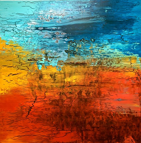 contemporary Abstract Art, 3D, sculpture, mid century modern, jackson pollack, sunset, Ocean, modern, blue, orange, green, copper, turquoise, yellow, orange, contemporary art, abstract, san diego, san diego artist, affordable art, bright, colorful, non-re