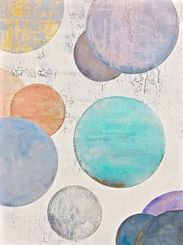 contemporary Abstract Art, circles, circles, coastal, spheres, flowers, floral, jackson pollack, sunset, Ocean, modern, blue, orange, green, copper, turquoise, yellow, orange, contemporary art, abstract, san diego, san diego artist, affordable art, bright