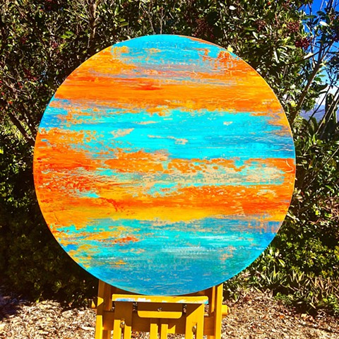 coastal art, surf art, surfing, surf, coastal home, contemporary Abstract Art, circles, spheres, flowers, floral, jackson pollack, sunset, Ocean, modern, blue, orange, green, copper, turquoise, yellow, orange, contemporary art, abstract, san diego, san di