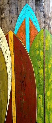 contemporary Abstract Art, circles, surf art, surfboard, surfboard art, ocean, beach, retro, spheres, flowers, floral, jackson pollack, sunset, Ocean, modern, blue, orange, green, copper, turquoise, yellow, orange, contemporary art, abstract, san diego, s