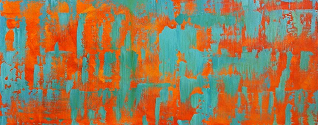 contemporary abstract art, modern, blue, green, copper, yellow, orange, contemporary art, abstract, san diego, san diego artist, affordable art, bright, colorful, non-representational abstract art