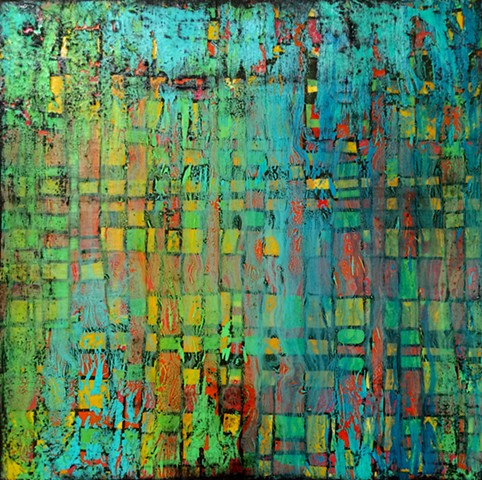 contemporary Abstract Art, 3D, wood, reclaimed wood, sculpture, mid century modern, jackson pollack, sunset, Ocean, modern, blue, orange, green, copper, turquoise, yellow, orange, contemporary art, abstract, san diego, san diego artist, affordable art, br