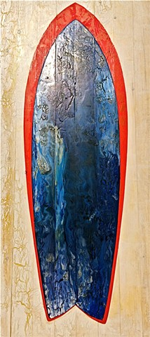 contemporary Abstract Art, wood, surf, surfboard, circles, spheres, flowers, floral, jackson pollack, sunset, Ocean, modern, blue, orange, green, copper, turquoise, yellow, orange, contemporary art, abstract, san diego, san diego artist, affordable art, b