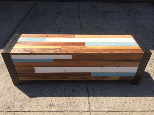 Reclaimed Wood and Blackened Steel Storage Bench