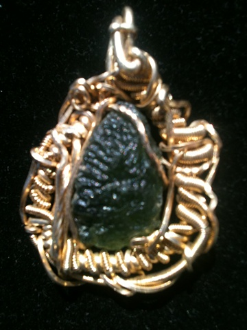 Moldavite meteorite pendant