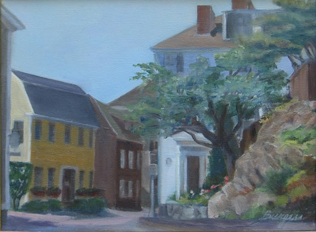 Plein Air painting on the corner of Washington and Pearl Streets, Marblehead